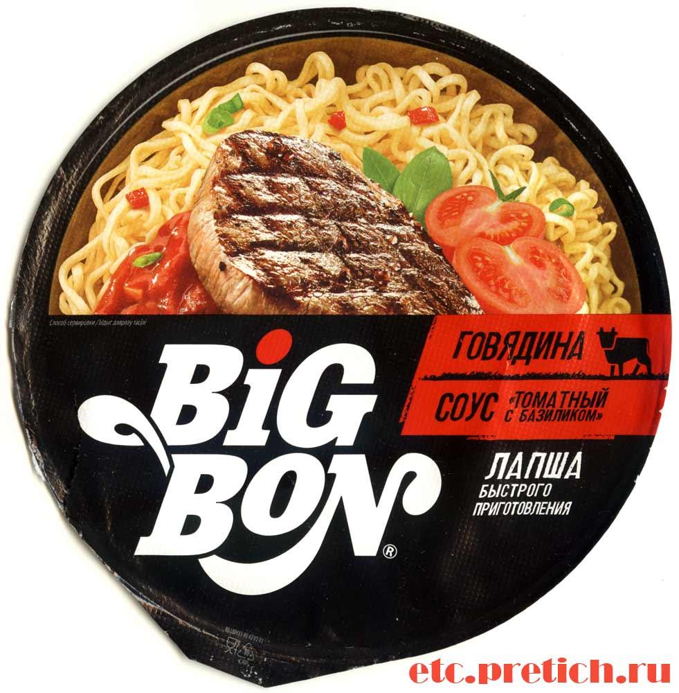 Все о лапше быстрого приготовления BiG BON с говядиной и соусом