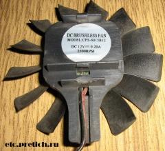 Вентилятор для видеокарты CPS-8015B12 DC Brushless Fan DC 12V 2500RPM