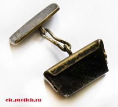 Запонка СССР - серебро, позолоченная, с каким-то черного цвета камнем...