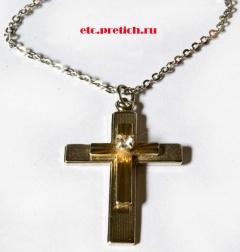 Католический крест на цепочке - имитация серебра, золота, бриллианта - металл, стекло